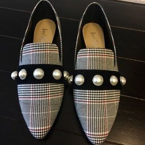 Lord & Taylor Haven Pearl Embellished Plaid Loafer